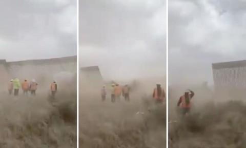 Clip bức tường biên giới Mỹ - Mexico đổ sập vì gió bão