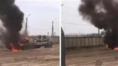 Clip T-72 Nga cháy không thể dập khi đang tập trận