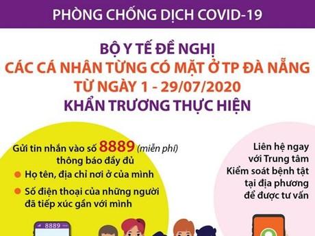 [Infographics] Bộ Y tế đề nghị người đi Đà Nẵng về khai báo y tế
