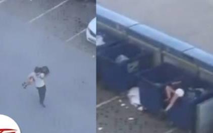 Bị đuổi theo sau khi cãi nhau, người đàn ông ném luôn bạn gái vào thùng rác