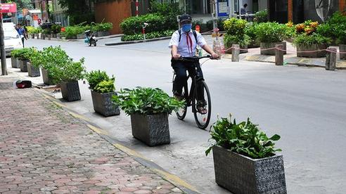 Hà Nội: Barie, chậu hoa trải dọc ngõ Dâu phường Mộ Lao (Hà Đông) để không cho ô tô tiếp tục đậu xe dưới lòng đường