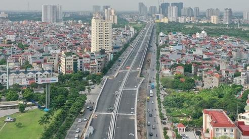 Toàn cảnh cầu cạn đoạn Mai Dịch - Nam Thăng Long trước ngày thông xe