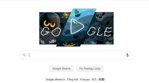 Chú mèo phép thuật trở lại chào đón Halloween trên Google
