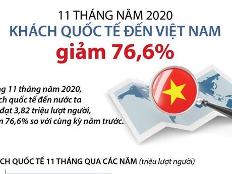 Khách quốc tế đến Việt Nam giảm 76,6% trong 11 tháng đầu năm