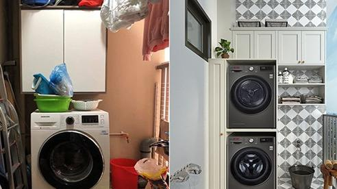 KTS hô biến những góc giặt cũ kĩ, lộn xộn của chị em hội Nghiện Nhà thành không gian đẹp lung linh, nhìn là muốn học theo ngay lập tức