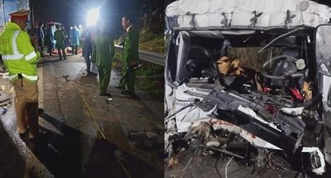 Xe tải tông xe đầu kéo, hai người thương vong