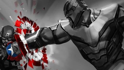 Bản vẽ concept cho thấy Thanos một tay đấm vỡ khiên Cap, nhưng đáng tiếc không được Marvel sử dụng trong bản công chiếu Endgame