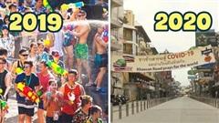 Khung cảnh trái ngược của lễ hội té nước Thái Lan 2019 vs 2020: năm ngoái hoành tráng, nhộn nhịp bao nhiêu thì năm nay trầm lắng, vắng vẻ bấy nhiêu