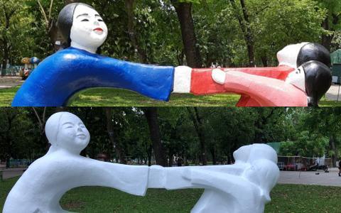 Những bức tượng 60 năm tuổi ở Công viên Thống Nhất bị sơn màu loè loẹt: 'Đón nhận ý kiến của giới mỹ thuật, chúng tôi sẽ trả lại nguyên trạng'