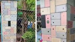 Ngôi nhà xây hẳn chiếc cổng ốp lát toàn bộ bằng iPhone khiến cộng đồng mạng siêu tò mò 'dân chơi' này là ai