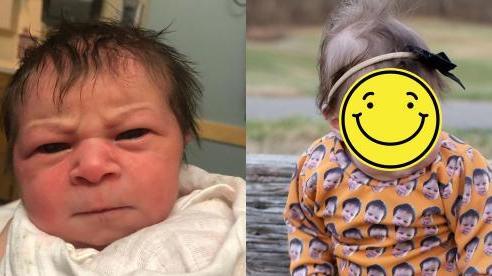 Biểu cảm 'hờn cả thế giới' của em bé vừa mới chào đời khiến ai cũng buồn cười, hình ảnh lúc lớn càng ngạc nhiên