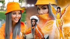 Tóc xám khói, diện cả cây 'cam tươi', H'Hen Niê xứng danh 'đại tỷ mặc đẹp' dàn hoa hậu Việt