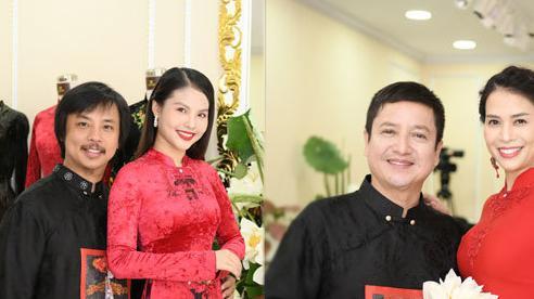 Chí Trung cùng bạn bạn gái và vợ chồng Chí Anh diện áo dài