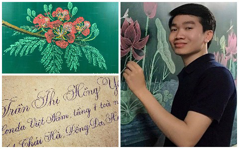 Thầy giáo 9X vẽ hoa phượng đỉnh cao giống y như thật, xem đến ảnh chữ viết càng phục hơn