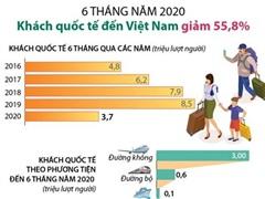 [Infographics] 6 tháng đầu năm: Khách quốc tế đến Việt Nam giảm 55,8%