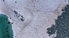 Kỳ lạ tuyết hồng bao phủ sông băng trêndãy Alps