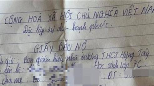 Học sinh viết giấy nợ tiền gửi xe: Không ai ép!