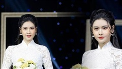Trương Quỳnh Anh mặc áo dài cưới, làm cô dâu bước vào lễ đường