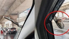 Đang chạy xe trên đường, tài xế ô tô xanh mặt khi thấy 'bé Na' nhòm qua kính