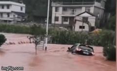 """Thót tim nhìn tài xế cố gắng thoát ra khỏi ô tô trước khi bị nước lũ """"nuốt chửng"""""""
