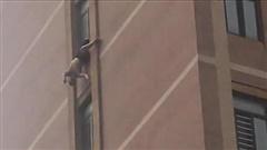 Thót tim cảnh người đàn ông bị mắc kẹt ở tầng 10 trong tư thế treo ngược