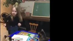 """Cô bé """"dạy"""" 2 chú mèo học khiến dân mạng bật cười vì quá đáng yêu"""