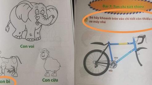 Phụ huynh choáng váng trước bộ sách sai tùm lum: 'Con bò' thì viết thành 'con bì', dạy về xe máy thì cho hẳn xe đạp làm hình minh họa