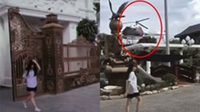 Cô gái trẻ bước ra từ ngôi biệt thự lộng lẫy, kế bên còn có cả chiếc trực thăng đậu trên nóc làm nhiều người choáng về độ chịu chơi