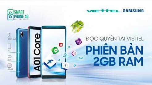 Viettel Telecom độc quyền cung cấp dòng máy Samsung Galaxy A01 Core