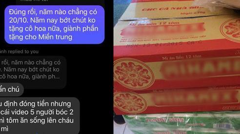 Cậu bé lớp 9 liền dùng tiền mua hoa tặng cô 20/10 mua 2 thùng mì gửi ủng hộ miền Trung: 20/10 năm nào cũng có nhưng người miền Trung cần giúp đỡ ngay bây giờ!