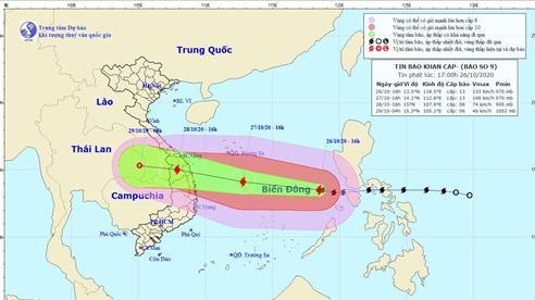 Ngày 27/10, bão số 9 sẽ mạnh lên cấp 13, giật cấp 16