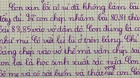 Làm nhầm bài tập cô giao, học sinh viết bản kiểm điểm sướt mướt, tự trách mình 'có mắt như mù'