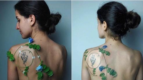 Biến hoa, lá thành hình xăm độc đáo, nữ nghệ sĩ khiến dân mạng 'ngả mũ bái phục'