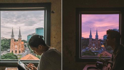 Sài Gòn xuất hiện quán cà phê có ô cửa sổ nhìn thẳng ra nhà thờ Đức Bà tuyệt đẹp, dự là sẽ 'gây bão' ầm ầm cho xem!