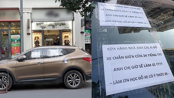 Xe ô tô chắn ngang cửa hàng, đỗ nguyên cả ngày dù bị bảo vệ khóa xe khiến dân tình bức xúc