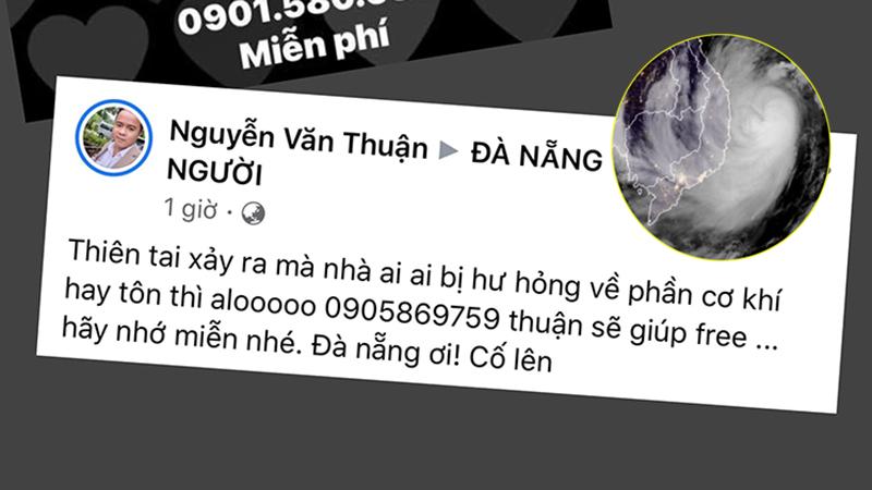 Ấm lòng người dân Đà Nẵng đăng thông báo nhận sửa chữa nhà cửa miễn phí sau bão số 9
