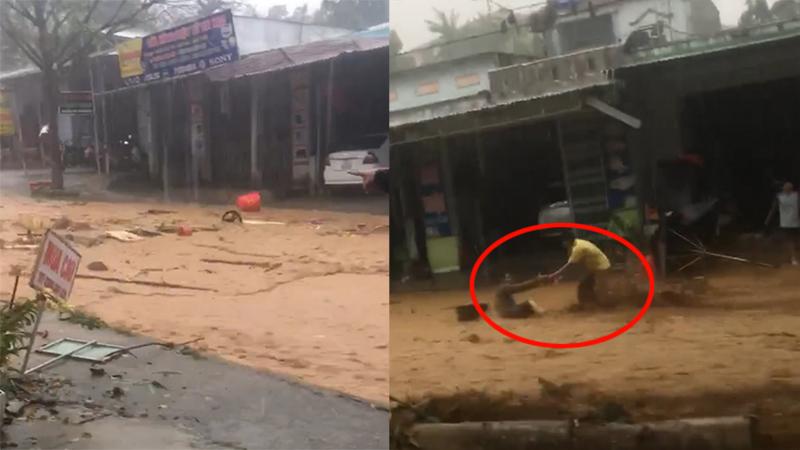 VIDEO lột tả sự kinh hoàng của lũ: Chảy xiết cuốn trôi người đi đường ở huyện Nam Trà My
