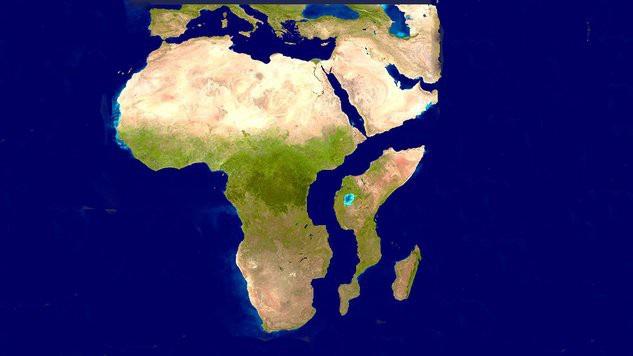 Hình dung về lục địa châu Phi sau khi tách làm hai.
