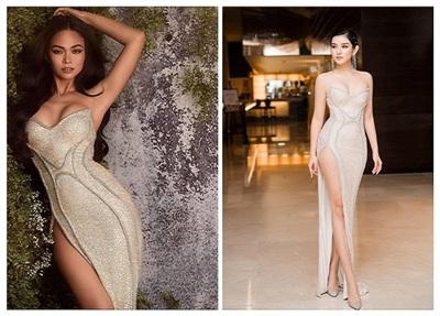 Chiếc váy Hải My mặc trong bộ ảnh dự thi gửi về cho BTC từng được Á hậu Huyền My và Á hậuMâu Thủy diện trước đó.