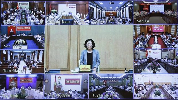 Trưởng Ban Dân vận Trung ương Trương Thị Mai phát biểu. (Ảnh: Thống Nhất/TTXVN)
