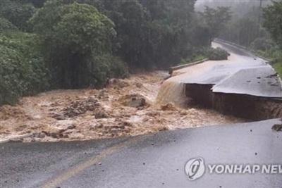 Mưa lớn gây lũ lụt và sạt lở đất khiến ít nhất 13 người Hàn Quốc chết và mất tích. (Ảnh: Yonhap)