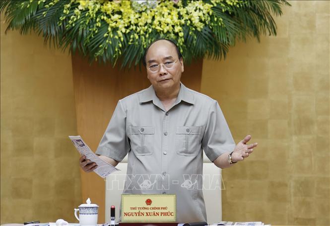 Thủ tướng Nguyễn Xuân Phúc phát biểu tại cuộc họp.Ảnh: TTXVN