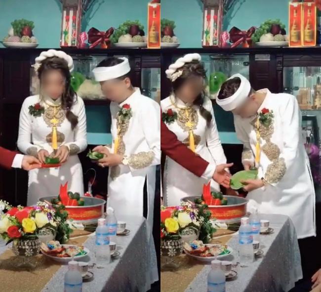 Cô dâu và chú rể trong lễ ăn hỏi.