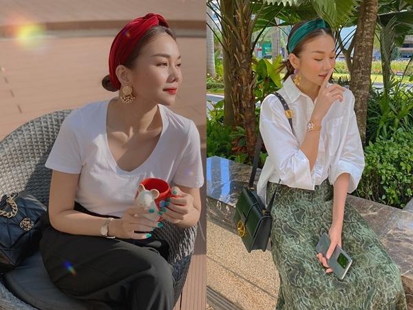 Thanh Hằng còn sở hữu bộ sưu tập khăn turban đủ màu sắc. Cô thường mang khi diện những thiết kế quý phái, tôn lên nét đẹp cổ điển và sự trưởng thành.