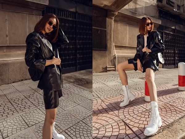 Với đôi chân dài 1m12 nổi danh làng mẫu cùng nước da nâu khỏe khoắn, Thanh Hằng thả dáng khẳng định đẳng cấp fashionista.