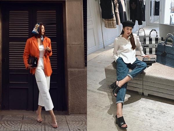 Những đôi sandals quai to bản độc lạ được Thanh Hằng kết hợp cùng các bộ đồ đậm tính công sở, pha trộn tinh tế giữa hơi hướng cổ điển và hiện đại.