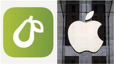 Biểu tượng của Prepear (trái) và Apple. Ảnh: Reuters