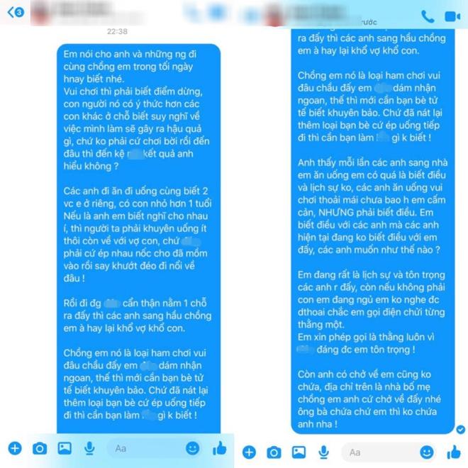 Đoạn tin nhắn của vợ với bạn nhậu cùng chồng.