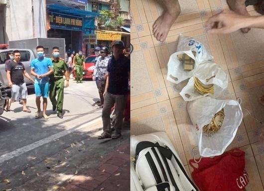 Nghi phạm Nguyễn Văn Hân (áo xanh da trời) và số tang vật bị thu giữ. Ảnh: VOV