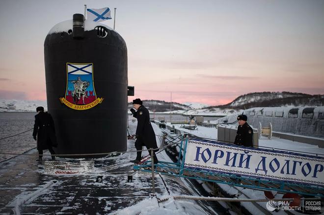 Tàu ngầm Yuri Dolgoruky thuộc Hạm đội phương Bắc của Hải quân Nga. (Ảnh: RIA)